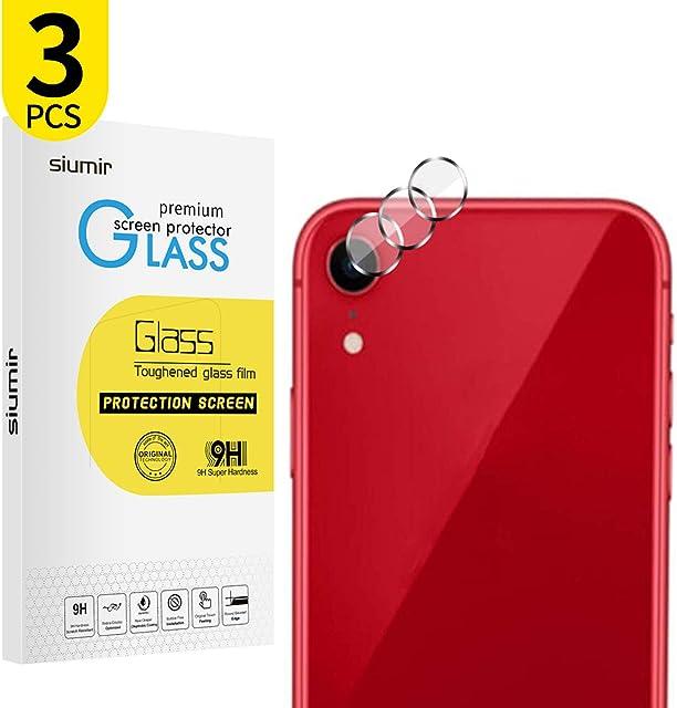 Siumir Lente de Cámara Trasera Protector para iPhone XR 6.1 Pulgada Protector de Vidrio Templado 2.5d Borde Redondo Cámara Protector de Película 3 PCS