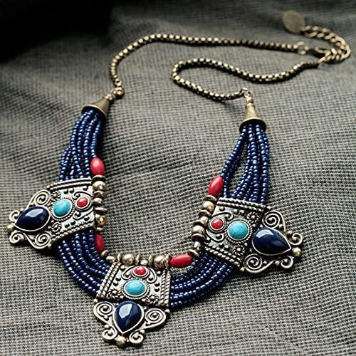 XINSHUN Beautiful Retro Turquoise Coral Blue Bead Tibetan Necklace Lapis Lazuli Stone Unique Chain Necklace Accessories (,1)