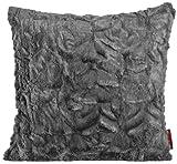 MAGMA Fluffy Kissenhülle ca. 70x70 cm kuschelweicher Plüsch in Felloptik (05 Mittelgrau) 1 Stück
