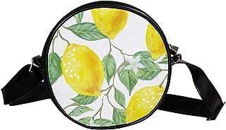 Coosun Umhängetasche für Kinder und Damen mit Blättermotiv, Grün / Gelb / Zitronengelb