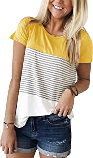 Womens Short Sleeve T Shirts Round Neck Stripe Cotton Shirts Casual Tops Tees