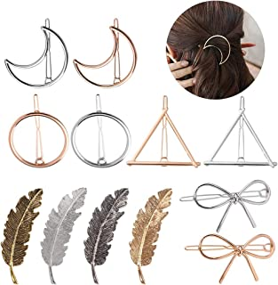 Aniwon Hair Clips for Women Girls, 12PCS Metal Hair Barrettes Hair Pins Hollow Geometric Clasps Minimalism Feather Moon Bowknot with Thick Hair Styling
