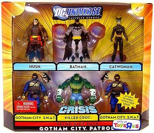DC UNIVERSE JUSTICE LEAGUE UNLIMITED GOTHAM CITY PATROL 6 PACK  HUSH, BATMAN, CATWOMAN, KILLER CROC, GOTHAM CITY S.W.A.T.