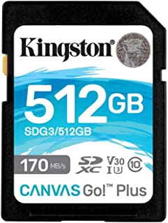 Kingston 512GB SDXC Canvas Go Plus 170MB/s Read UHS-I, C10, U3, V30 Memory Card (SDG3/512GBET)