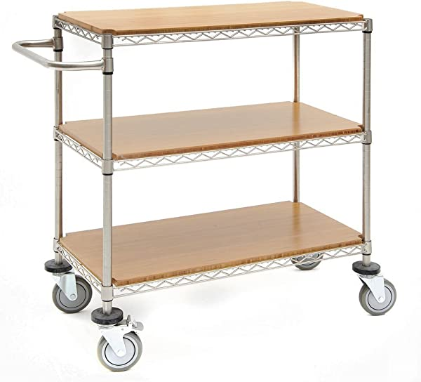 Kitchen Cart With 3 Shelves Soft Silver Steel Wire 48 L X 24 W X 39 1 2 H