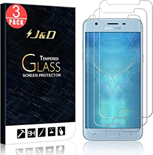 J&D Compatible for 3-Pack Galaxy J3 2018/J3 V 3rd Gen/J3 Achieve/J3 Star/Amp Prime 3 Glass Screen Protector, [Tempered Glass] Glass Screen Protector for Samsung Galaxy J3 2018 Screen Protector