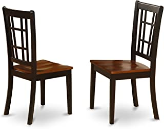 East West Furniture Dining Chair Set with Wood Seat, Black/Cherry Finish, Set of 2