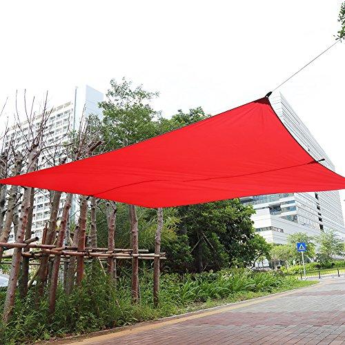 Soleil Voile d'ombrage, rectangle extérieur Jardin ombrage étanche terrasse Voile d'ombrage avec une longue Corde en nylon et sac de rangement 4.5x5m Red