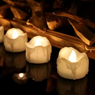 Flameless Candle Battery Operated Candles LED Fake Wax Dripped Tealights, Warm White Bulb, Pack of 24