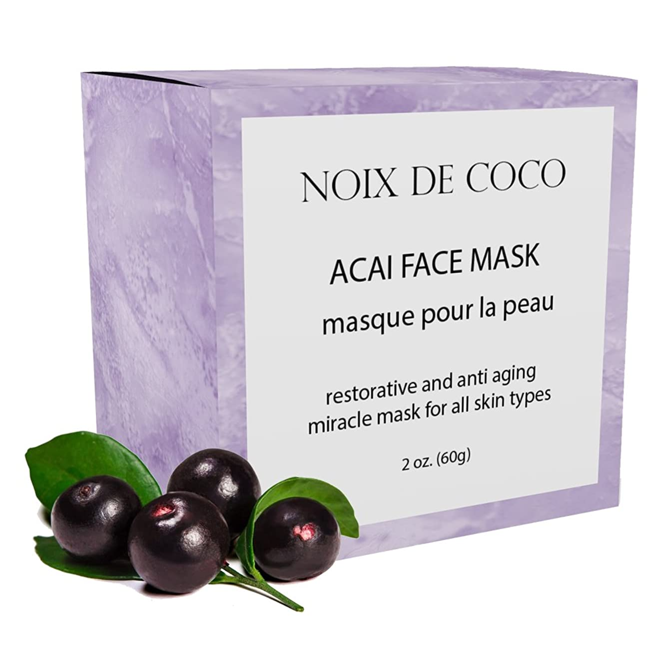 Noix de Coco Organic Superfood Face Mask in ACAI (or AVOCADO, BEET, CHARCOAL, MATCHA, TURMERIC). Reduces Pores & Acne. Tightening & Hydrating. All Natural, Vegan, Cruelty Free, Non-Toxic.