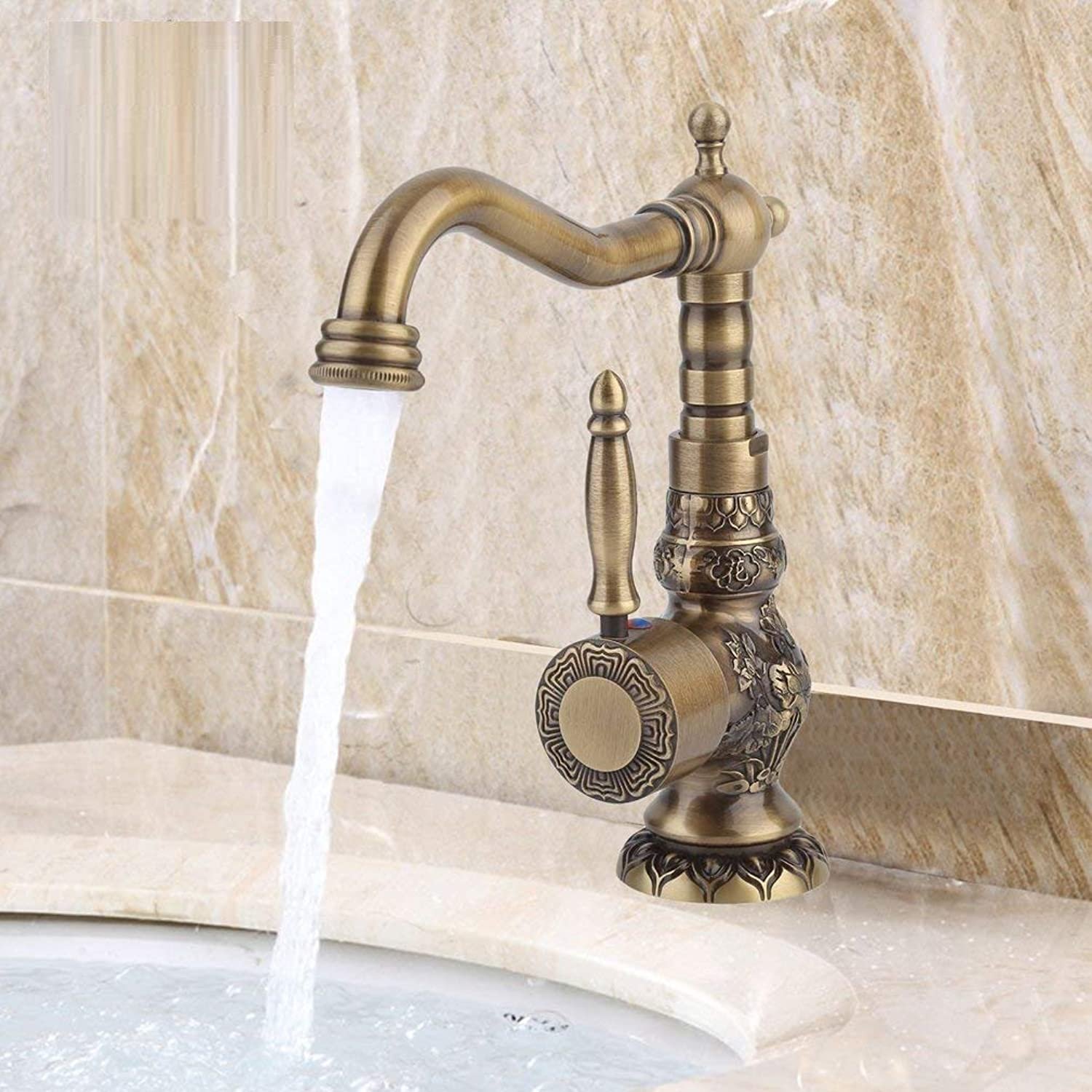 redOOY Taps European Antique Exquisite Carved Copper Water Basin Sink Brass Faucet Single Hole Mixer Kitchen Tap Taps