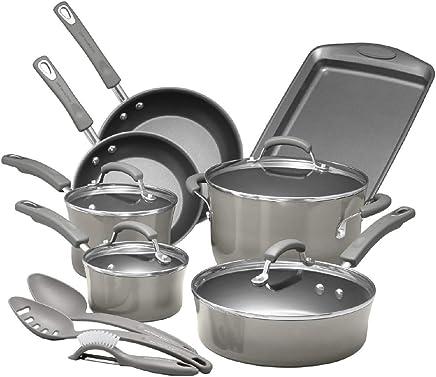 Rachael Ray Porcelain Enamel Aluminum Nonstick 14 piece Cookware Set - Sea Salt Gray
