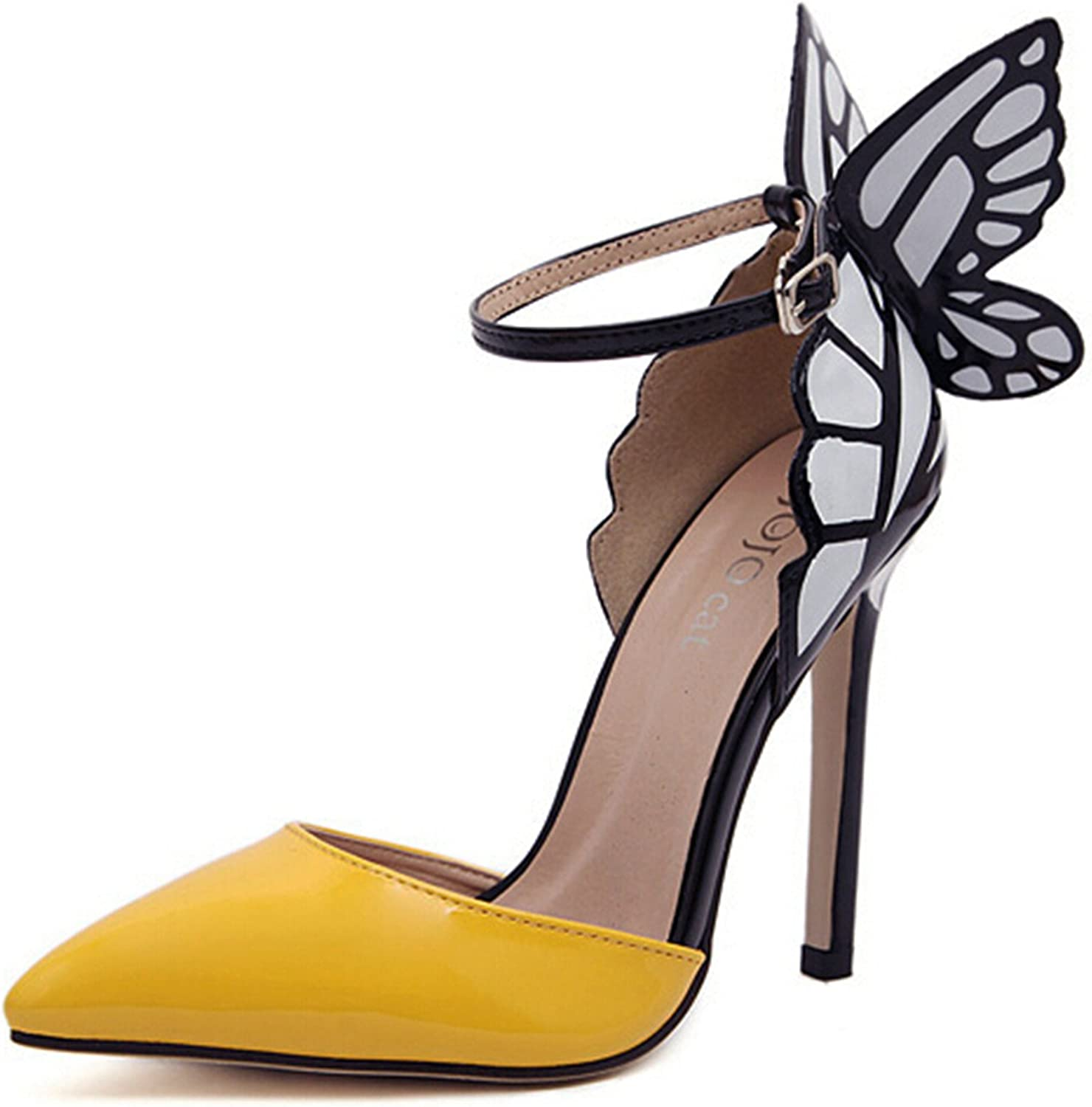 Robert Westbrook Women Wedding High Heels colorful Butterfly Heeled Sandals Pumps Bow Patry shoes Woman Bridal Pumps Yellow 5.5