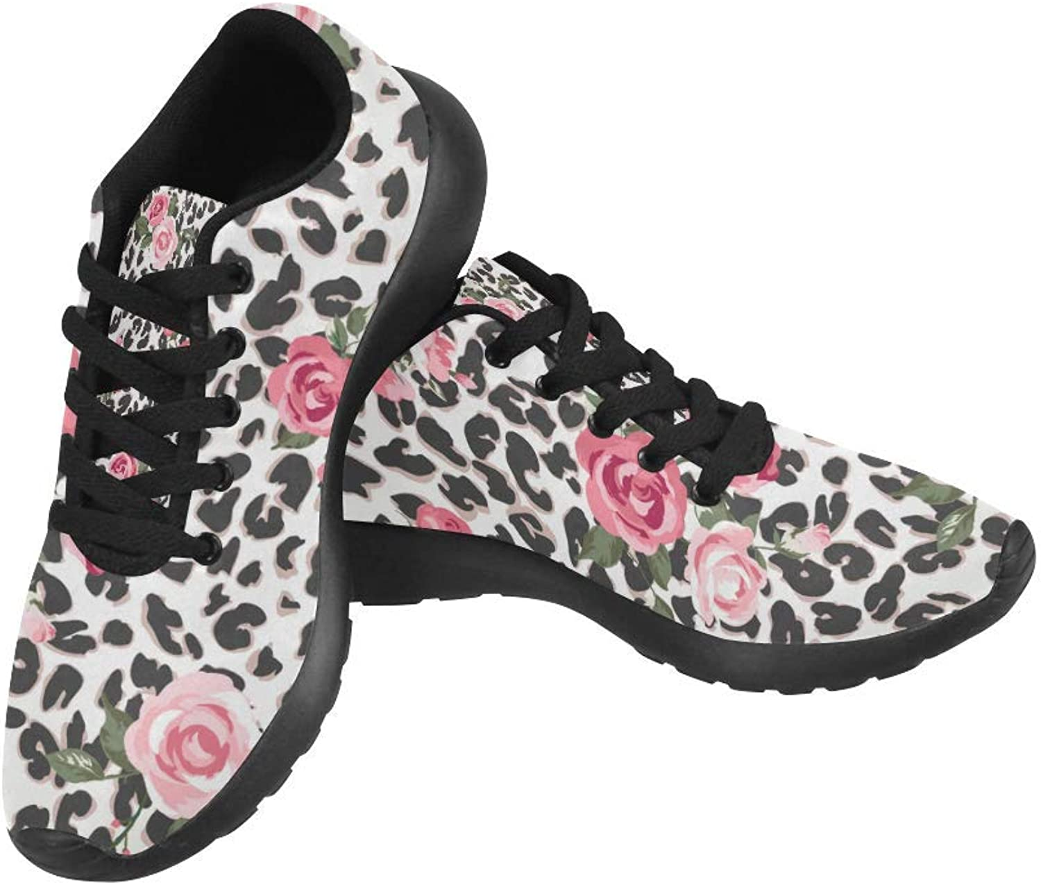 InterestPrint Cute pink Mix Leopard Pattern Print on Women's Running shoes Casual Lightweight Athletic Sneakers US Size 6-15