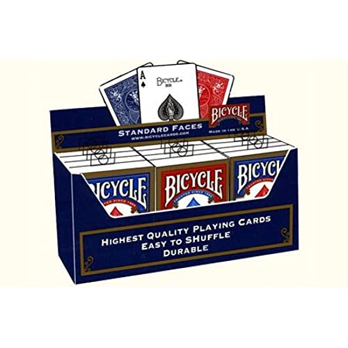 Bicycle Poker Size Standard Index Playing Cards (12-Pack) [Colors May Vary: Red, Blue or Black]