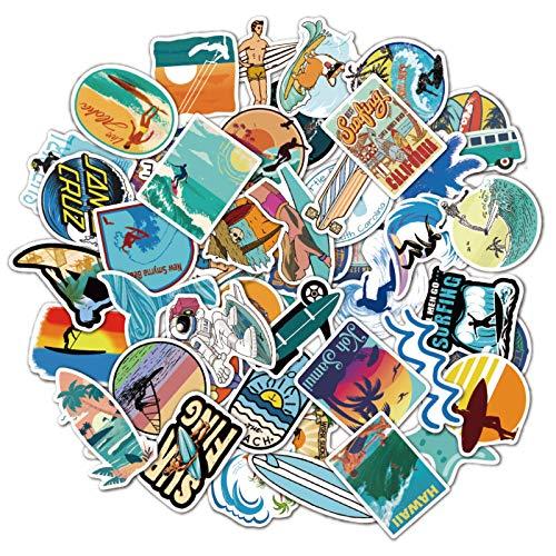 WWLL 50 Pegatinas Impermeables para el Verano Surfing Graffiti Maleta portátil Taza de Agua