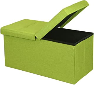 Otto & Ben Folding Toy Box Chest with SMART LIFT Top, Upholstered Tufted Ottomans Bench Foot Rest for Bedroom, Lime Green