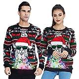 Freshhoodies Unisex Strickpullover Alpaka Weihnachtspullover Mit LED Leuchten Neuheit Ugly Weihnachtspulli Sweater Pullover Für Damen Herren Weihnachtsparty XXL
