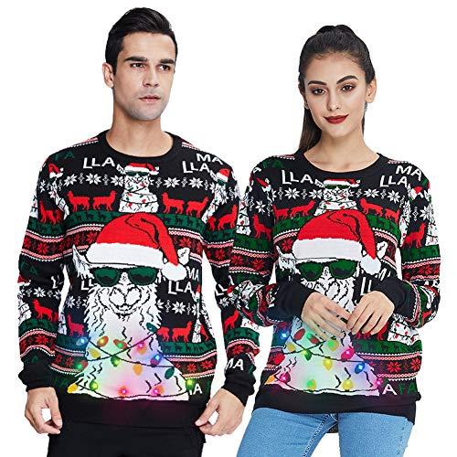 Freshhoodies Unisex Alpaca Suéter de Navidad con lámpara LED Sudadera de Punto Divertida para Navidad Jerséis XXL
