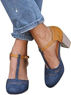 2019 Zapatos De Tacón Alto Ancho, Sandalias De Vestir En Contraste Punta Redonda Zapatillas con Hebillas Sandalias Romanas De Boda Fiesta De Baile Elegante Chic De Verano Primavera