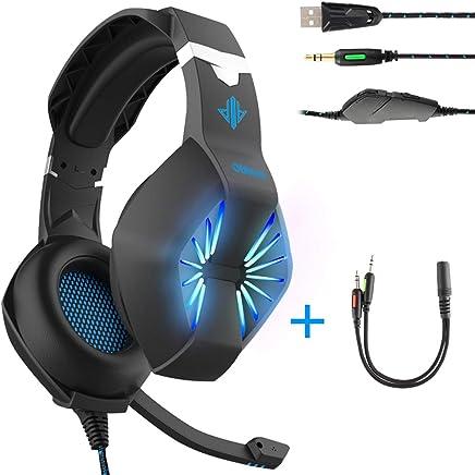 headset-3.5mm alimentazione USB e cavo cuffie da gaming con microfono e luminosa a LED per PC, PS4, Xbox, tablet, smartphones-noise-isolating/stereo sound/morbido paraorecchie memoria nero Nero - Confronta prezzi