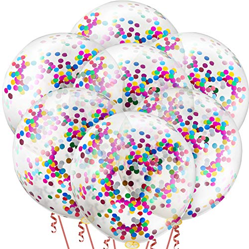 10 Pieces 36 Inch Jumbo Confetti Balloons Round Latex Balloons Multicolor Sequin Balloons for Birthday Wedding Engagement Party Decoration