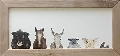 Modern Farmhouse Decor for the Home – Brown Rustic Frame with Farm Animals –..