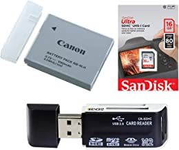 NB-6LH Lithium ion Battery Pack (3.7V, 1,060mAh) w/Ultra SDHC 16GB Card and BRENDAZ SD Card Reader, Works for Canon Canon PowerShot: D10, D20, ELPH 500, N, S90, S95, SD1200, SD1300, SD3500 is Camera