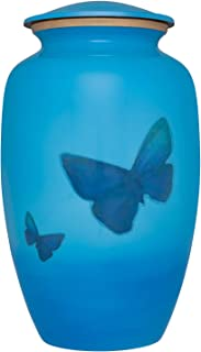 Sky Blue Funeral urn with Butterflies - Cremation Urn for Human Ashes - Hand Made in Aluminum -Suitable for Cemetery Burial or Niche - Large Size fits Remains of Adults up to 200 lbs