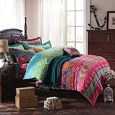 FADFAY Ethnic Style Bedding Sets, Morocco Bedding, American Country Style Bedding, Bohemian Style Bedding, Boho Duvet Cover, Queen King Size (King) 4Pcs