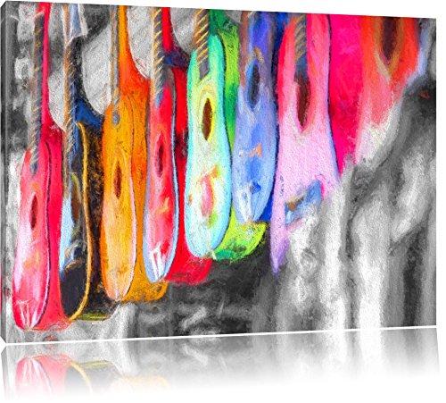 klassieke gitaren op de marktFoto Canvas | Maat: 120x80 cm | Wanddecoraties | Kunstdruk | Volledig gemonteerd
