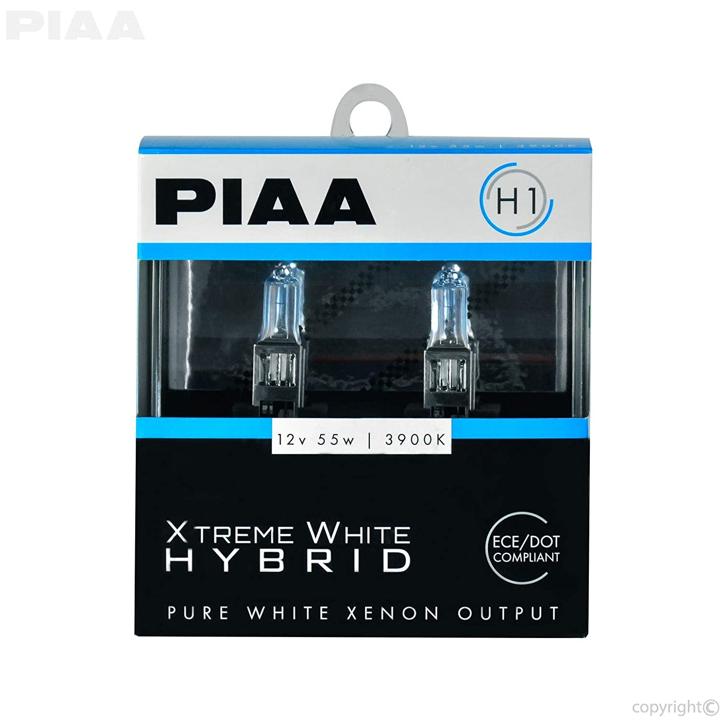 PIAA 23-10101 H1 Xtreme White Hybrid Bulb, 3900K-12V 55W-Twin, 2 Pack
