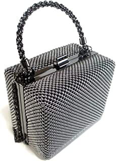 Small clutch metal mesh evening box purse for Cocktail Party Prom Wedding Banquet
