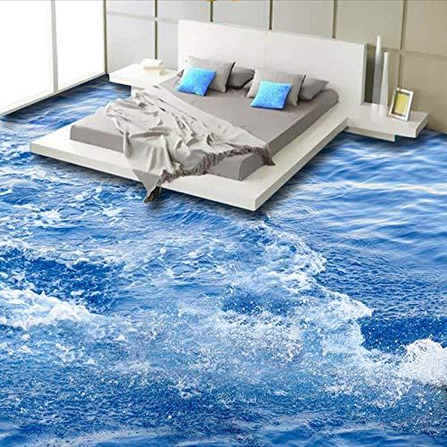 Modern eenvoudige Sea Wave 3D vloertegels muurschildering behang woonkamer badkamer PVC zelfklevende waterdichte vloerbedekking 200 x 140 cm.