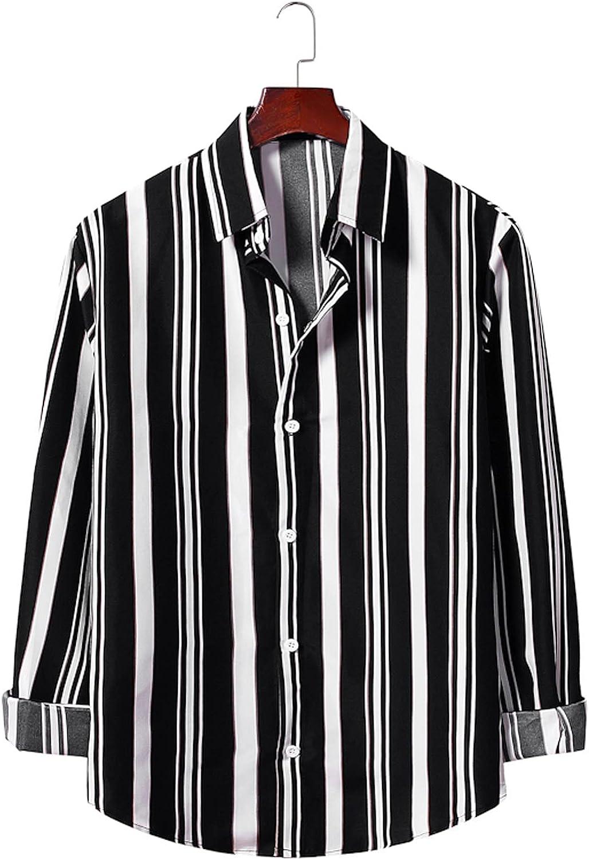 Huangse Men's Casual Striped Shirt Button Down Turn Down Collar Daily Shirts Long Sleeve Loose fit Shirt for Men