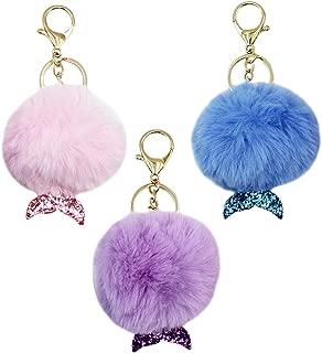 3Pcs Cute Mermaid Tail Fur Pom Pom Puff Ball Car Keychains Keyrings/Bag Purse Charm Pendants