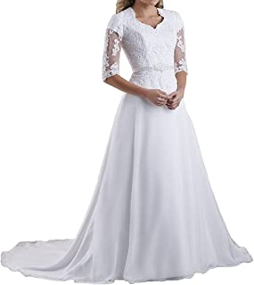 Vivibridal Women's V Neck Lace Applique Modest Wedding Bridal Gown with Half Sleeve
