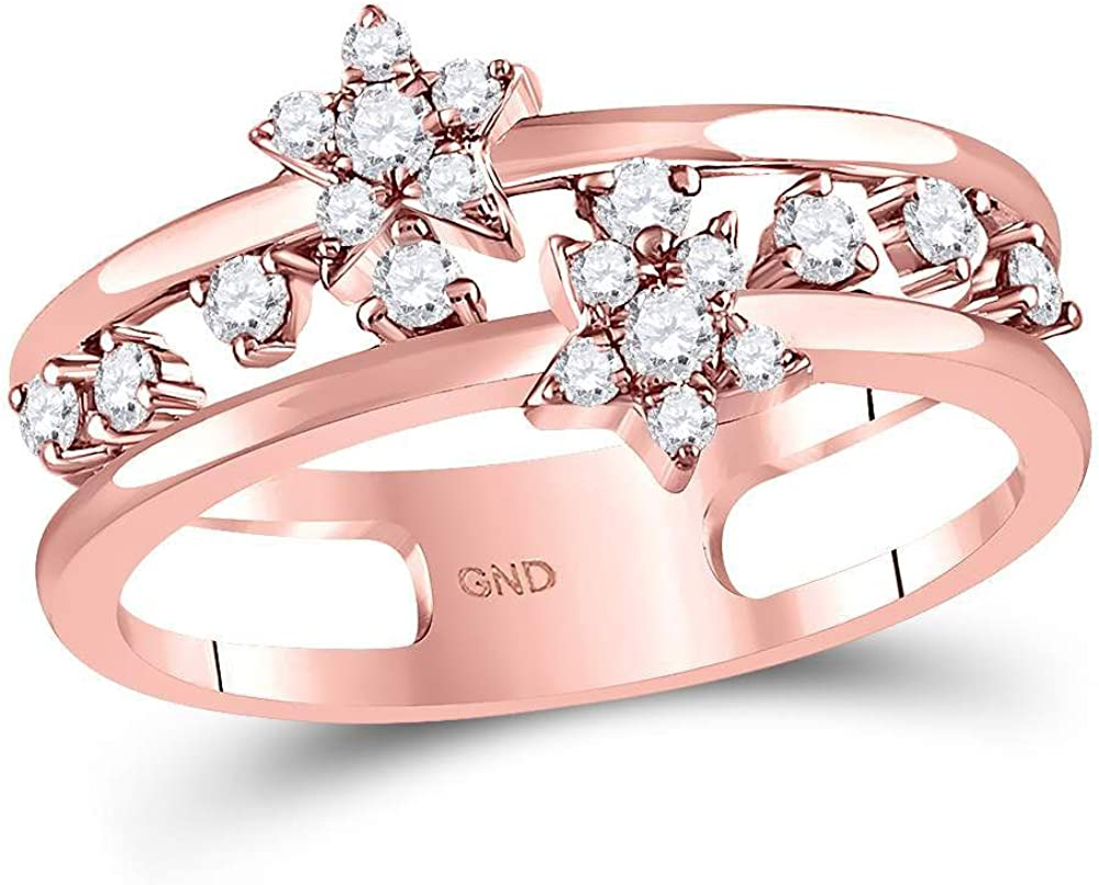14kt Outlet sale feature Rose Gold Womens Round Diamond 1 Double Ring Star Max 62% OFF Band Open