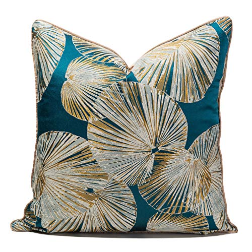 Cushion Cover Blue Lotus Leaf Pattern Light Luxury high Precision Sofa Decorative Pillow casebackrest Cover Lumbar Pillow Without Inner core 50cm