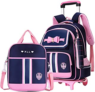 MITOWERMI 3Pcs Rolling Backpack Bowknot Girls Primary Schoolbag Trolley Bag Wheeled Backpack Carry On Luggage with Lunch B...