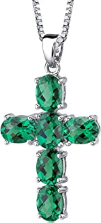 4.50 Carats Simulated Emerald Cross Pendant Necklace Sterling Silver Rhodium Nickel Finish