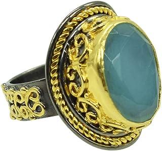 Ravishing Impressions Jewellery Anillo de compromiso de plata de ley 925 con forma ovalada de calcedonia azul, chapado en ...
