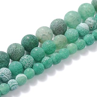 """Natural Stone Beads Gemstone Round Loose Beads Crystal Energy Stone Healing Power for Jewelry Making DIY,1 Strand 15"""", Gre..."""