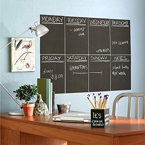 MMFB Arts Extra Large Blackboard Chalkboard Banner Vinyl Adhesive Paper (7.5 FEET) w/Free Color Chalks - Shelf Drawer Liner Wall Decal Poster Roll Paint Alternative - Peel & Stick Shape Silhouette