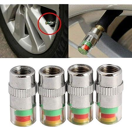 4 Stück Mini Metall Auto Luftdruckwarn Reifen Reifenwächter Druckwächter Druckanzeige Reifendruckkontrolle Ventilkappen Abdeckung Kupferkern Ventilstößel Alarmkappe Sensoranzeige Auto