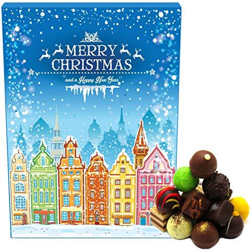 Hallingers 24 Pralinen-Adventskalender, ohne Alkohol (300g) - Prächtige Altstadt (Advents-Karton) - zu Weihnachten Adventskalender