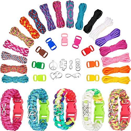 18 Colori 10 Feet Set Paracord Braccialetti Braccialetti Amicizia per Adolescenti Set Paracord Creazione Combinato Fibbie Kit Creazione Gioielli Ciondoli Crea Gioielli Moda Personalizzati