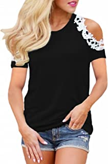 StyleDome Women's Casual Long Sleeve Lace Shirt Cold Shoulder Tops Basic Tee Crochet Blouses
