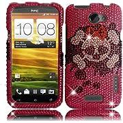 Pink Skull Full Diamond Bling Case Cover for AT&T HTC One X