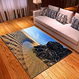 DRTWE Alfombra,Teppich,Pretty Beach Side Printed Velvet Area Rug For Living Room Large Size Anti-Skid Fluffy Shaggy Rug Bedroom Doorway Carpet Nursery Play Pad Carpet Runner,200 * 300Cm